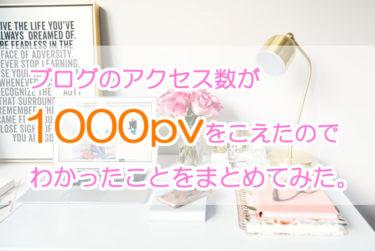 ブログのアクセス数が1000PVをこえたので、わかったことをまとめてみた。