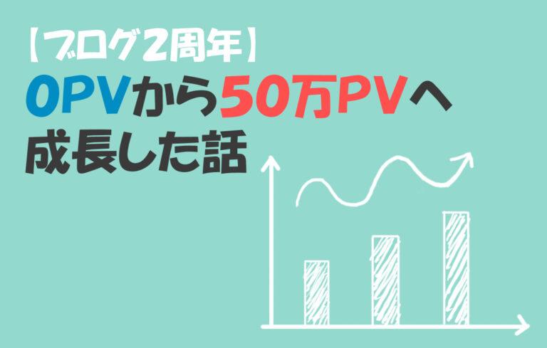 ブログ0PVから50万PVへ成長した話【2周年】アイキャッチ画像